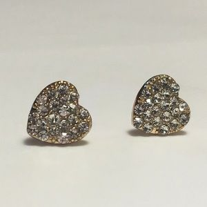 NWT Cubic Zirconia Heart Gold Earrings